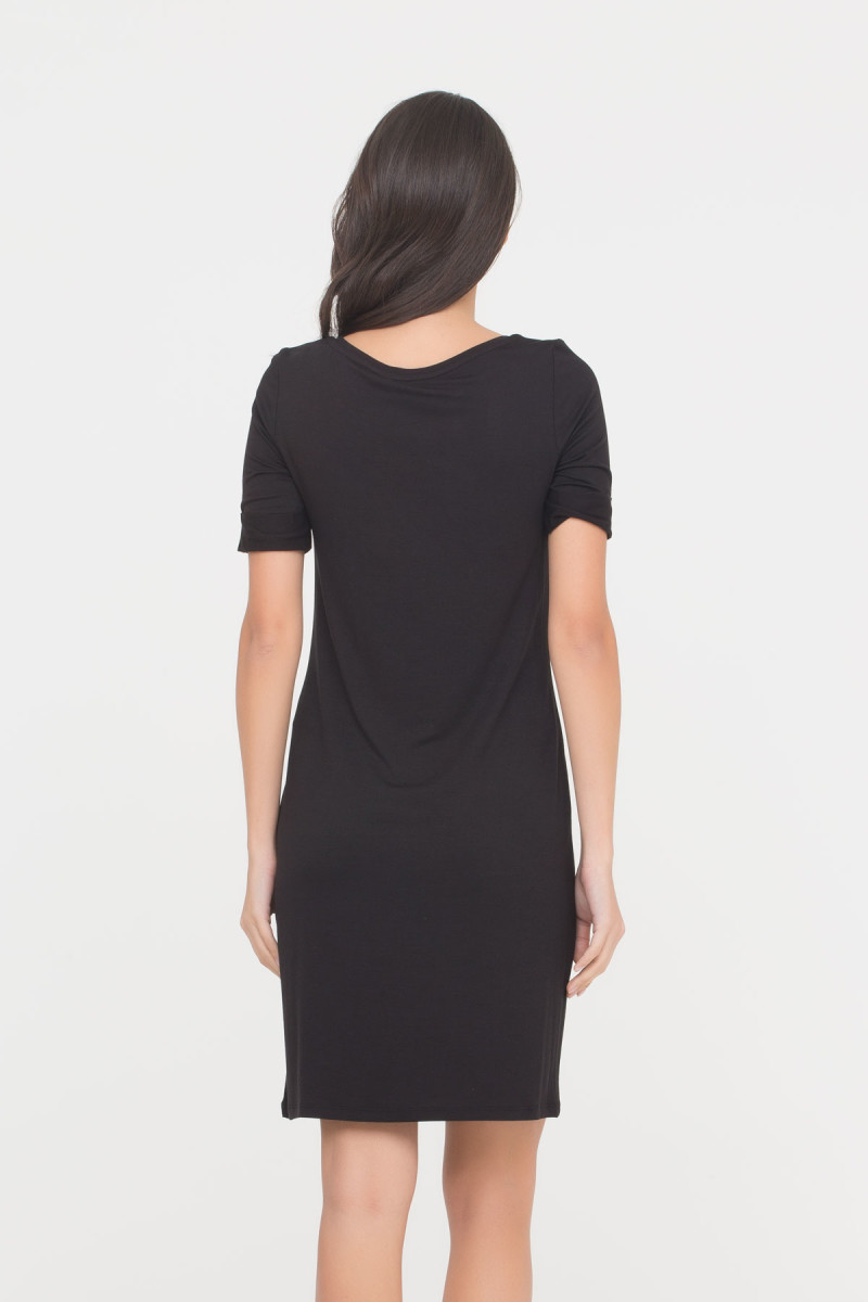 GIZIA CASUAL - Embroidered Dress In Black