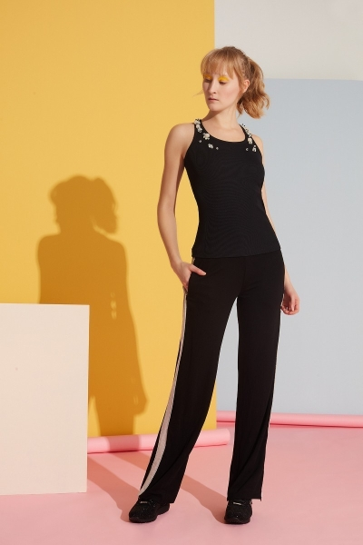 GIZIA SPORT - Şerit Detaylı Siyah Pantolon