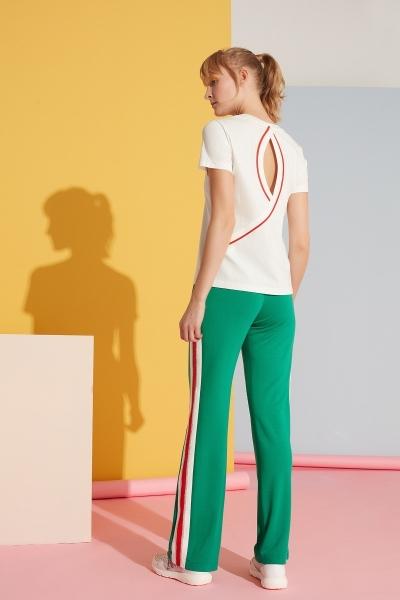GIZIA SPORT - Beyaz Şerit Detaylı Yeşil Spor Pantolon