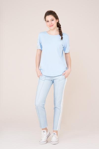 GIZIA SPORT - Beyaz Şerit Detaylı Mavi Spor Pantolon