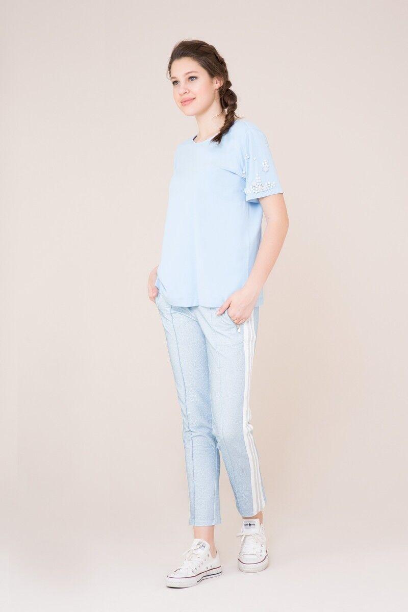 Beyaz Şerit Detaylı Mavi Spor Pantolon