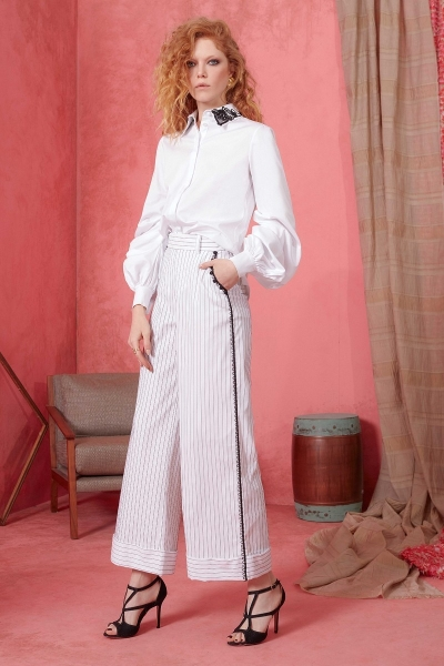 GIZIA - Güpür Detaylı Çizgili Beyaz Geniş Paça Pantolon