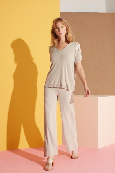 GIZIA - Geniş Paça Taş Rengi Pantolon