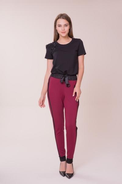 GIZIA - Siyah Şerit Detaylı Bordo Spor Pantolon