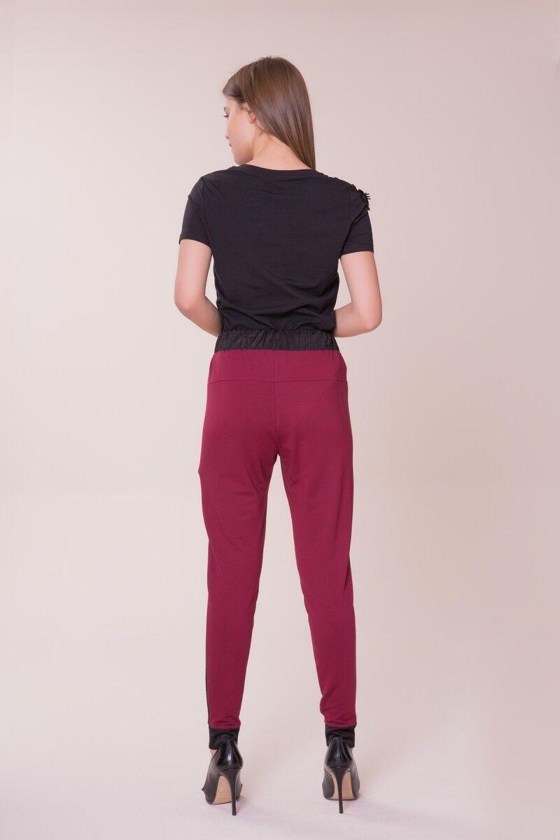 Siyah Şerit Detaylı Bordo Spor Pantolon