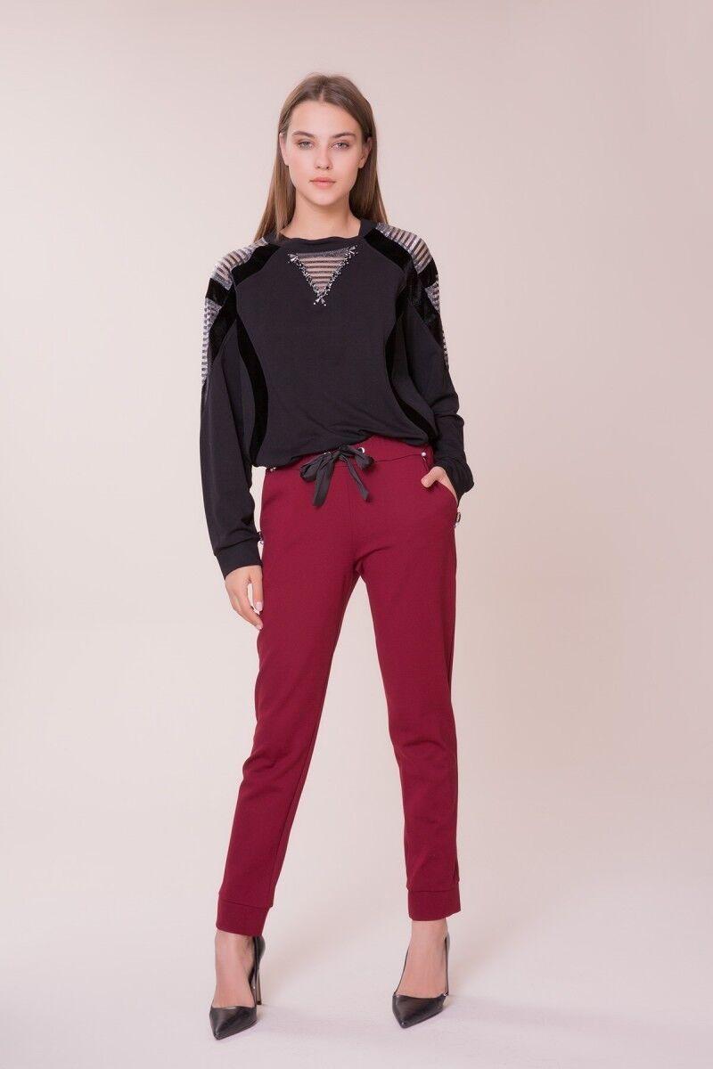 Cep Taş Detaylı Bordo Spor Pantolon