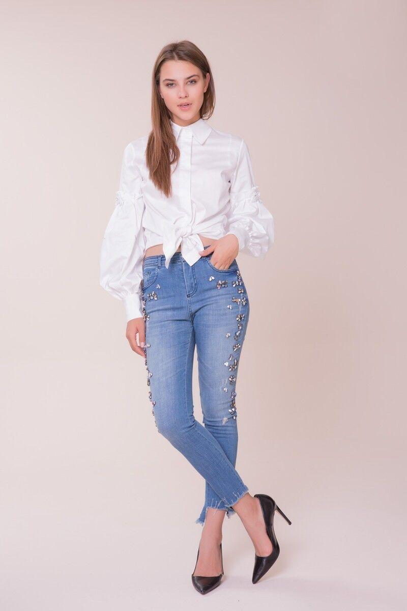 GIZIA - Swarovski Taş Detaylı Kot Pantolon