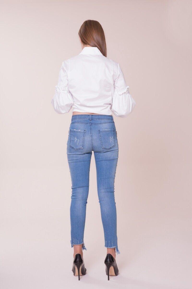Swarovski Taş Detaylı Kot Pantolon
