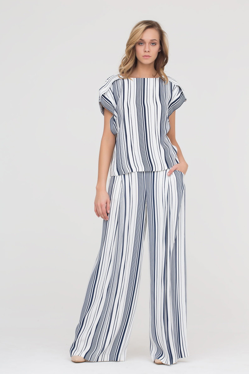 GIZIA - Wide Leg Trousers With Stripe