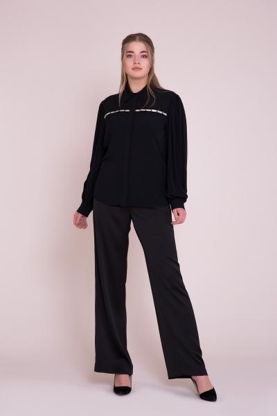 GIZIA - Taş İşlemeli Uzun Kollu Büyük Beden Siyah Gömlek