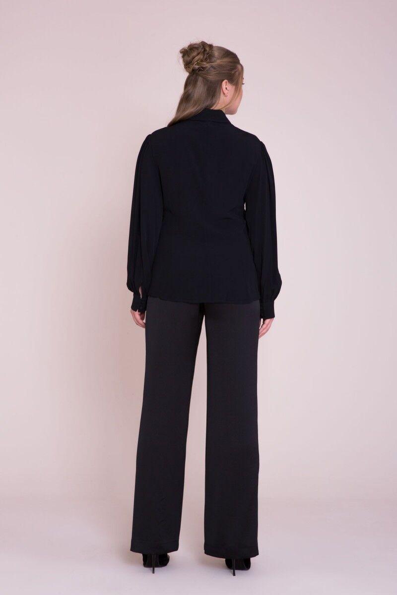Taş İşlemeli Uzun Kollu Büyük Beden Siyah Gömlek