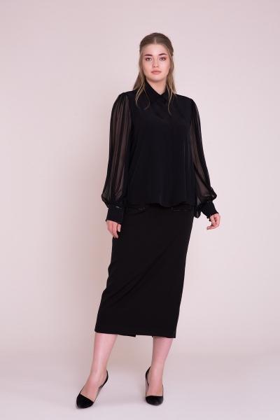 GIZIA - Manşet ve Yaka İşlemeli Büyük Beden Siyah Gömlek