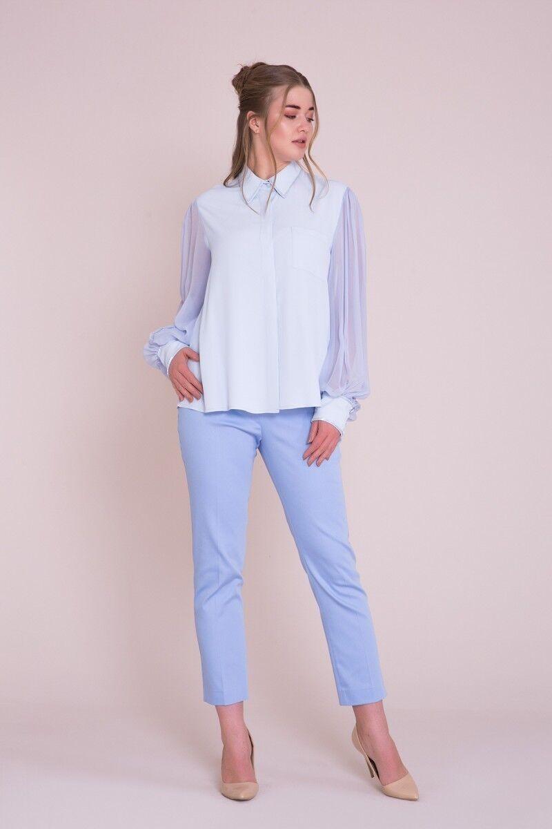 Manşet İşlemeli Büyük Beden Mavi Gömlek