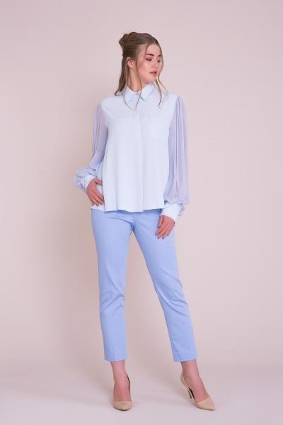 GIZIA - Manşet İşlemeli Büyük Beden Mavi Gömlek