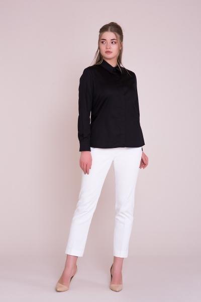 GIZIA - Uzun Kollu Büyük Beden Siyah Gömlek