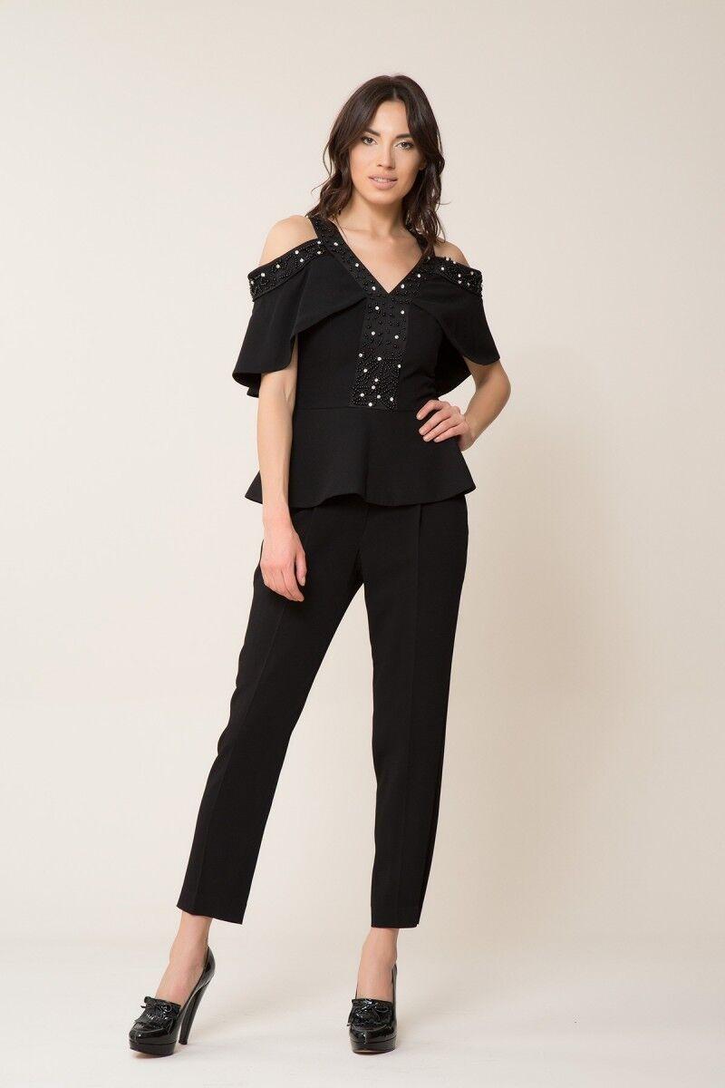 İnci ve Taş Detaylı Siyah Bluz