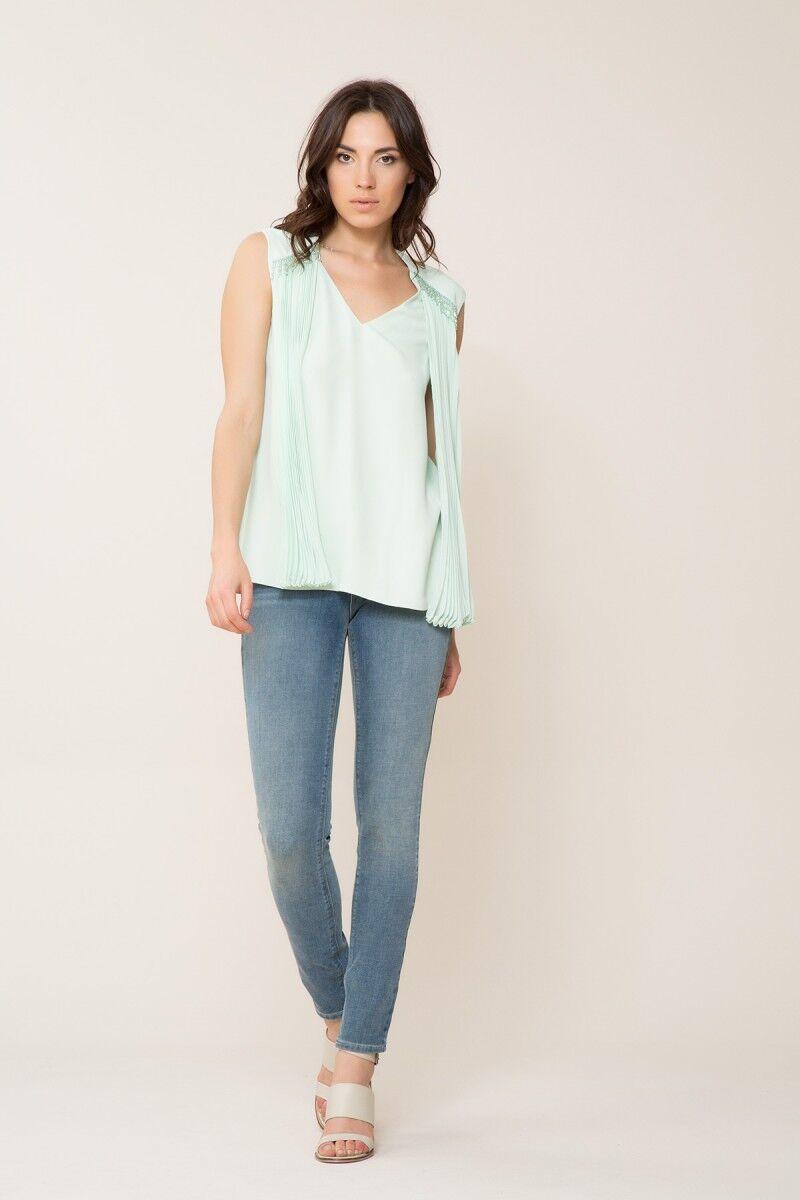 GIZIA - Taş Detaylı Mint Bluz