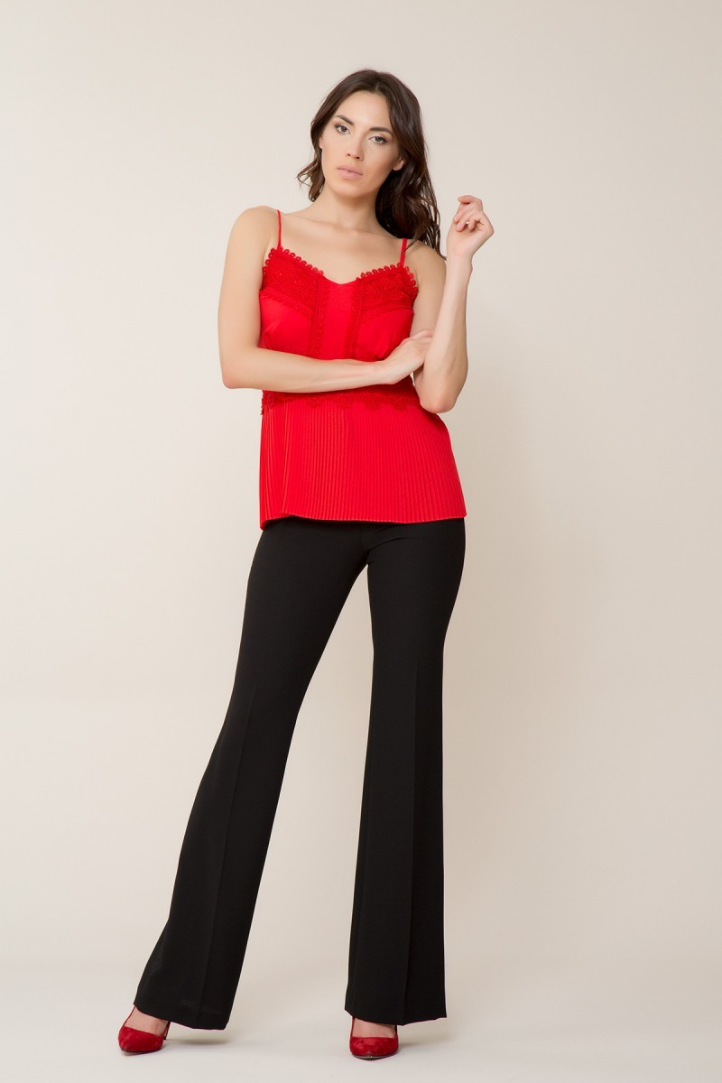 GIZIA - Dantel Detaylı Kırmızı Askılı Bluz