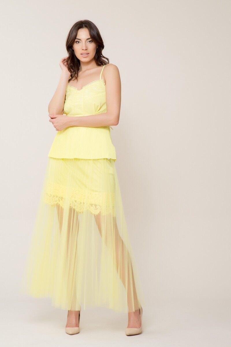 GIZIA - Dantel Detaylı Açık Sarı Askılı Bluz
