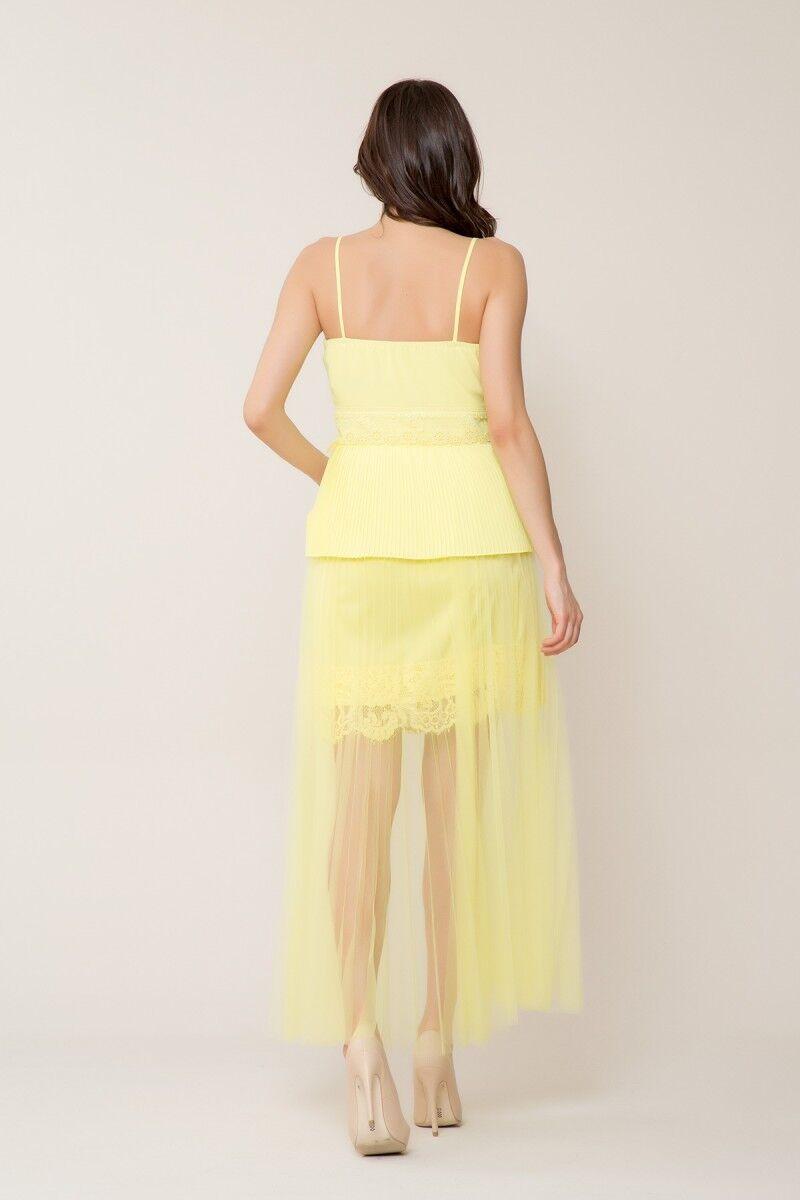 Dantel Detaylı Açık Sarı Askılı Bluz