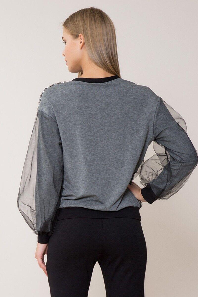 Taş ve Tül Detaylı Sweatshirt