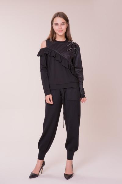 GIZIA - Omuz Taş Detaylı Siyah Spor Bluz