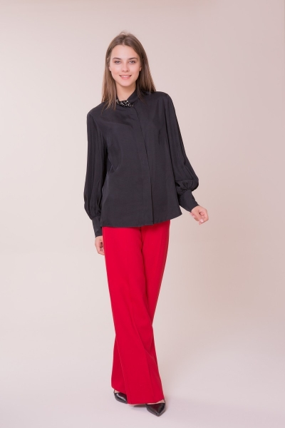 GIZIA - Yaka Taş Detalı Siyah Gömlek