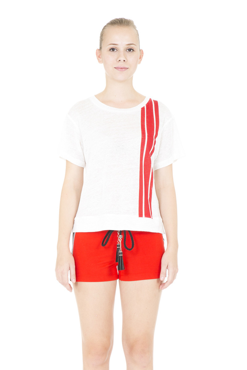 GIZIA - Kırmızı Şeritli Ekru T-shirt