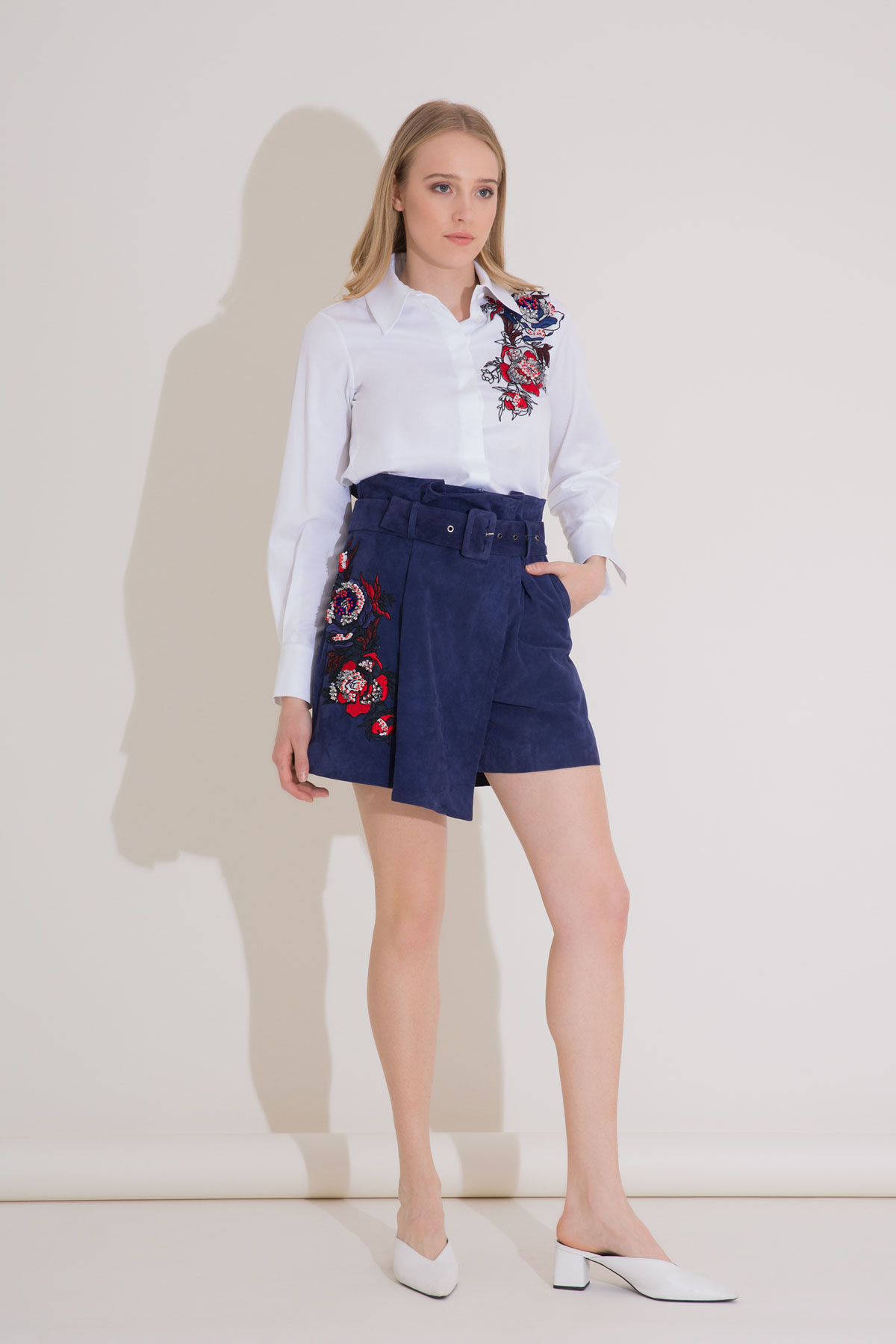 Suede Leather Navy Blue Short Skirt