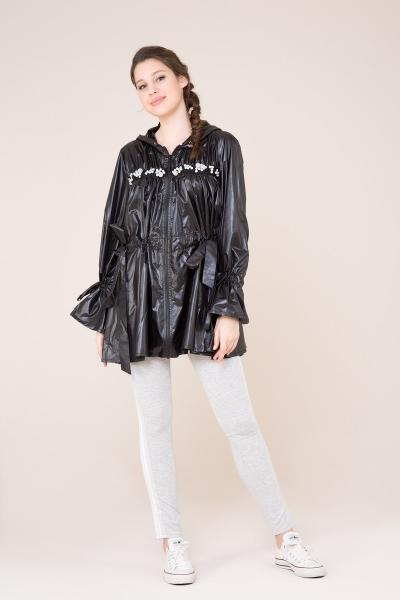 GIZIA SPORT - Taş Detaylı Kapüşonlu Siyah Yağmurluk