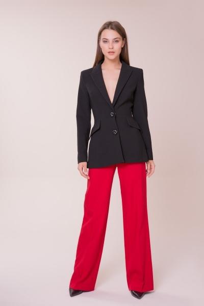 GIZIA - Düğme Taş Detaylı Siyah Ceket
