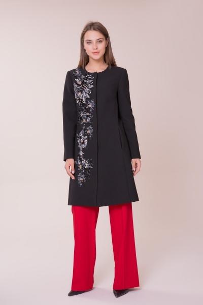 GIZIA - Nakış İşlemeli Siyah Palto
