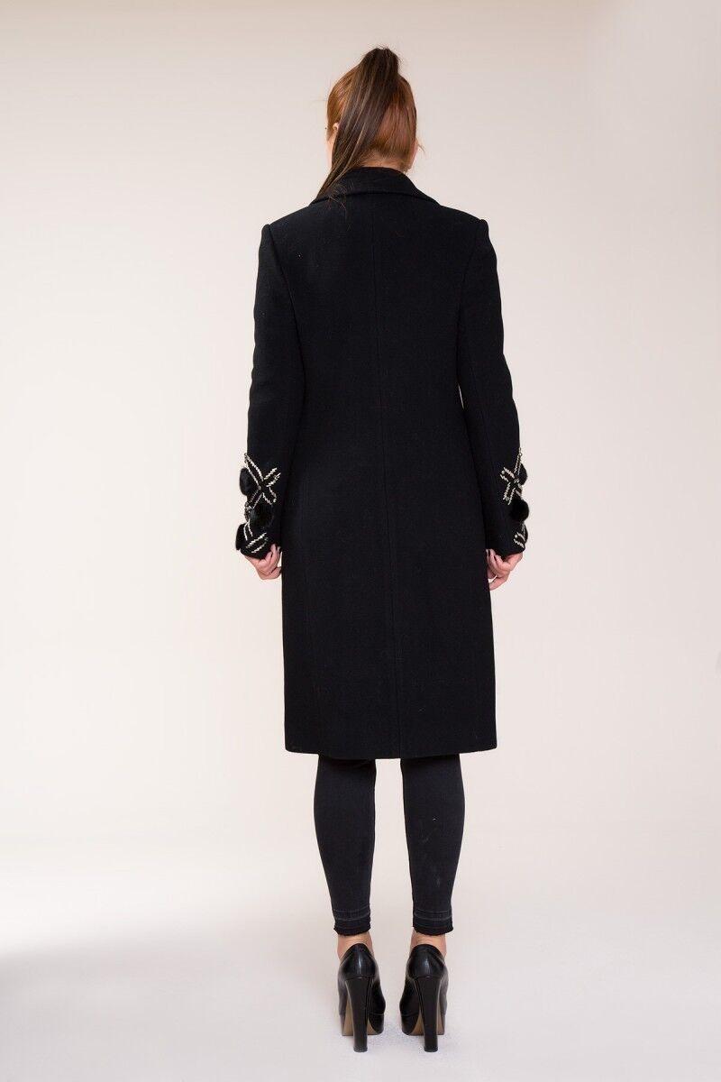 Kürk ve Taş İşlemeli İpek Kaşmir Siyah Kaban