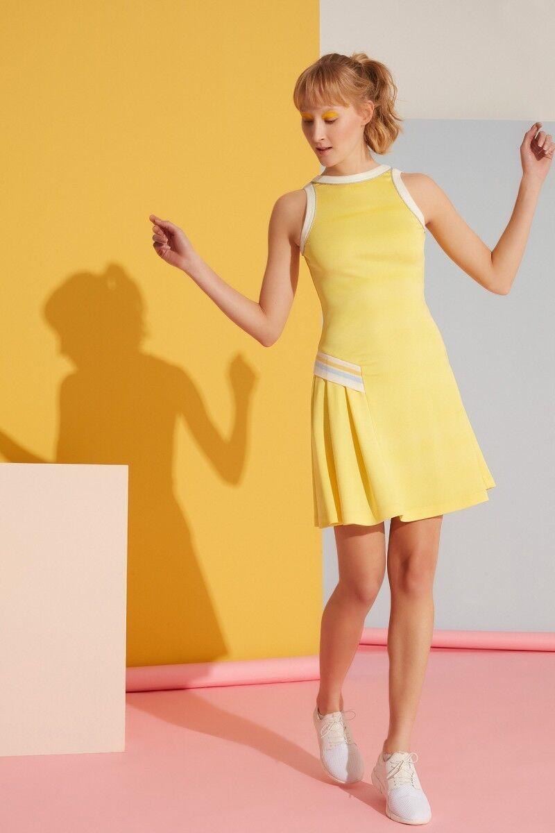 Şerit ve Fırfır Detaylı Sarı Elbise