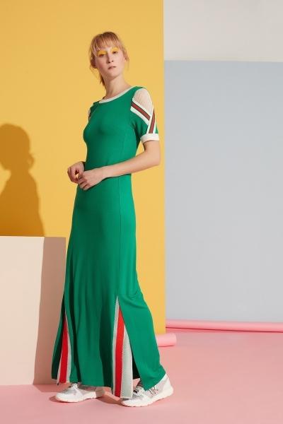 GIZIA SPORT - File ve Şerit Detaylı Yeşil Elbise