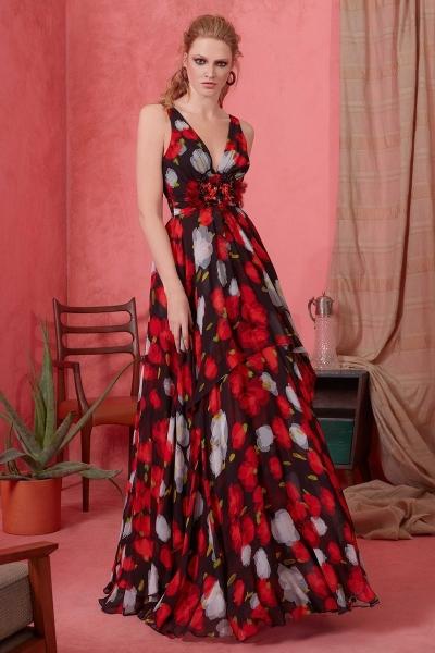 GIZIA - V Yaka Çiçek Desenli Uzun Elbise