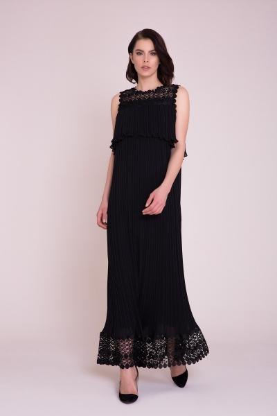 GIZIA - Güpür Detaylı Siyah Maxi Elbise