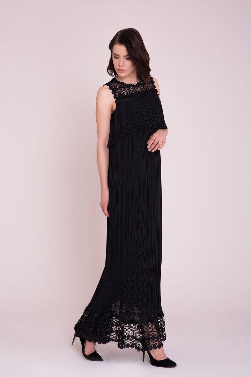 Güpür Detaylı Siyah Maxi Elbise