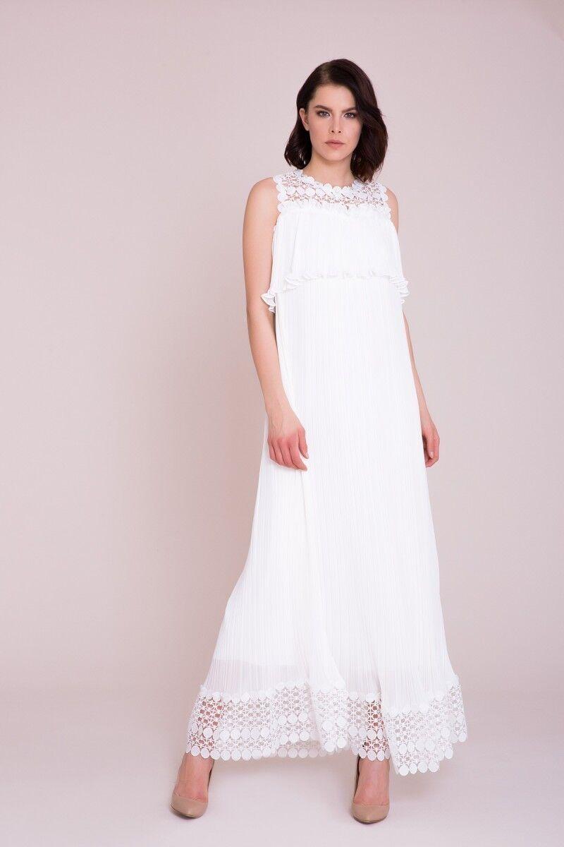 Güpür Detaylı Beyaz Maxi Elbise