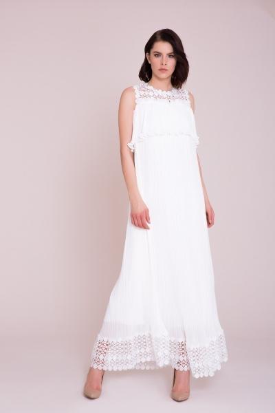 GIZIA - Güpür Detaylı Beyaz Maxi Elbise