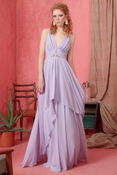 GIZIA - V Yaka İnci Detaylı Lila Elbise