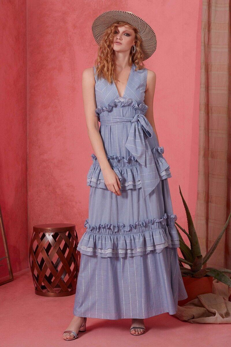 V Yaka Kuşak Detaylı Mavi Elbise