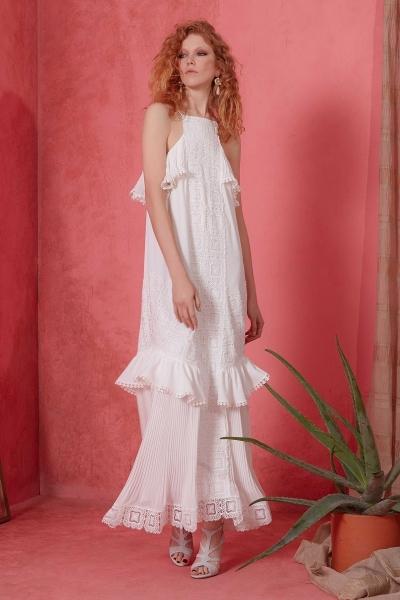 GIZIA - Güpür Detaylı Beyaz Elbise