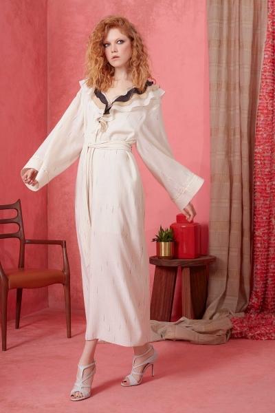 GIZIA - Yaka Fırfır ve Kuşak Detaylı Elbise