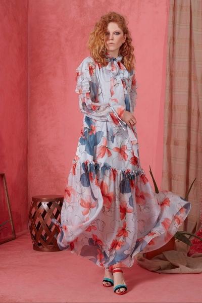 GIZIA - Fırfır Detaylı Uzun Elbise