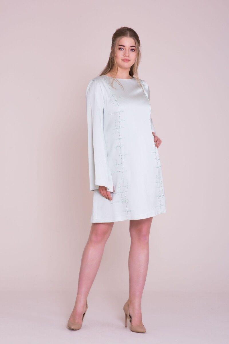 İşleme Detaylı Büyük Beden Mint Mini Elbise