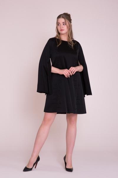 GIZIA - İşleme Detaylı Siyah Mini Elbise