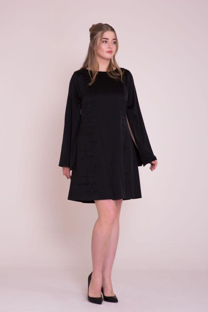 İşleme Detaylı Büyük Beden <br>Siyah Mini Elbise