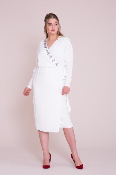 GIZIA - Kruvaze Yaka Ekru Midi Elbise