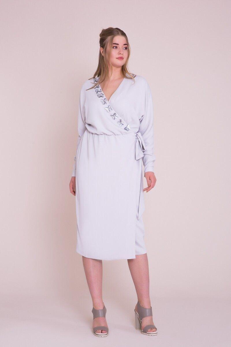 Kruvaze Yaka Büyük Beden Lila Midi Elbise